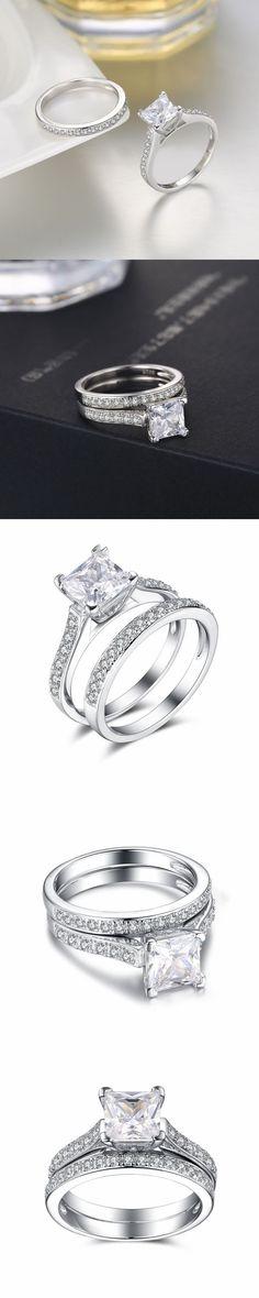 Lajerrio Jewelry Princess Cut Gemstone S925 Ring Sets