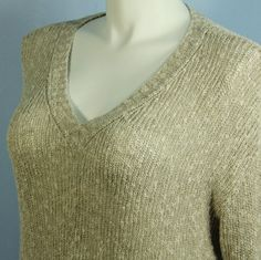 NEW Eileen Fisher Natural Malibu Linen V Neck Box Top Tunic Sweater size L NWT #EileenFisher #VNeckTunic