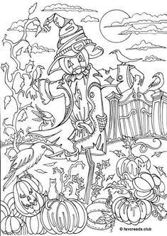 Scarecrow - Printable Adult Coloring Page from Favoreads (Coloring book pages for adults and kids, Coloring sheets, Coloring designs) Fall Coloring Pages, Adult Coloring Book Pages, Printable Adult Coloring Pages, Coloring Books, Coloring Pages To Print, Free Adult Coloring, Coloring Pages For Kids, Fete Halloween, Halloween Printable