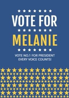 Stars Blue Yellow white poster to vote for president
