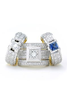 Princess cuts in diamonds and blue sapphires intrigue. Jenna Clifford, Princess Cut, Blue Sapphire, Jewlery, Diamonds, Wedding Rings, Engagement Rings, Luxury, Enagement Rings