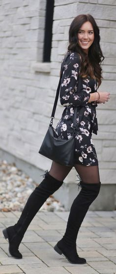 Fall's IT trend: the satin dress! This one is under $50 by Dynamite and is PERFECT with over-the-knee boots and sheer tights! #dynamiteclothing #satindress #floraldress #fallfashion #fashionblogger