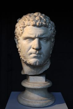 A marble head of the emperor Caracalla found during the construction of the Via dei Fori Imperiali in 1933; now in the collections of the Capitoline Museums, Rome and on display at the ACEA/Montemartini museum. Date: 212-217 CE.