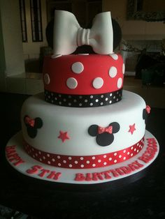 I love this with the polka-dot ribbon. I think that top tier would be so cute for one single cake.