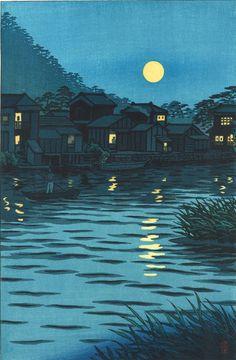 Kasamatsu Shiro - Katase Gawa Tsuki no De (The moon at the Katase river)
