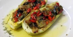 Seasonal veggies stuffed with even more veggies? Yes please! These eggplant, onion, and bell pepper stuffed zucchinis are a great vegetarian main dish alternative.