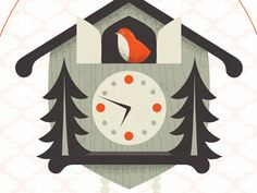 Cuckoo Clock print detail by Dave Douglass