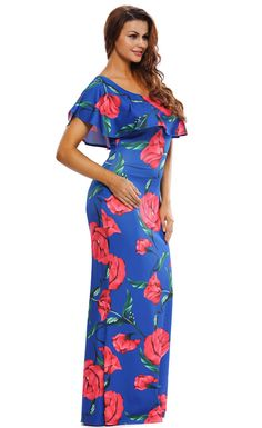 Ruffled One Shoulder Floral Maxi Dress Womens Fashion Stores b51eeefd4524