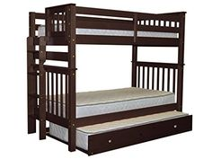 Bedz King Tall Mission Style Bunk Bed Twin over Twin with End Ladder and a Twin Trundle Cappuccino >>> Click on the image for additional details. (This is an affiliate link)