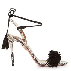 Aquazzura Wild Thing snakeskin fringed sandals ($643) ❤ liked on Polyvore featuring shoes, sandals, criss-cross sandals, fringe shoes, snake skin shoes, snake skin sandals and criss cross shoes