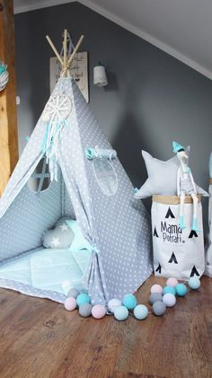Teepee set Kids Play Tent Tipi Minty Memories by MamaPotrafi Kids Play Teepee, Kids Tents, Child Teepee, Baby Bedroom, Girls Bedroom, Boy Room, Kids Room, Teepee Tent, Teepees