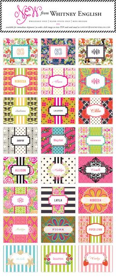 Utterly Charming Note cards from Whitney English Canvas Art Projects, Diy Canvas, Stationery Paper, Stationery Design, Whitney English, Bottle Cap Images, Thinking Day, Monogram Gifts, Name Cards