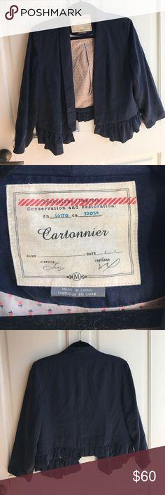 Anthropologie Cartonnier  Ruffled Bottom Blazer Cartonnier Blue Ruffled Bottom Blazer Anthropologie Jackets & Coats Blazers
