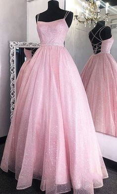 Pink Sequin Tulle Prom Dresses, Sparkle Prom Dresses, A-line Prom Dresses, 2020 Prom Dresses · Clairebridal · Online Store Powered by Storenvy Pretty Prom Dresses, Pink Prom Dresses, Sweet 16 Dresses, Backless Prom Dresses, A Line Prom Dresses, Tulle Prom Dress, Grad Dresses, Club Dresses, Ball Dresses