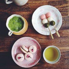 teatime! matcha sakura macarons, hanami dango, matcha latte, green tea - @bossacafez_- #webstagram