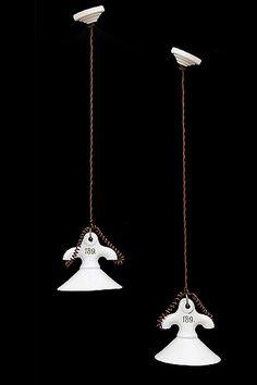 """Antique English Pair of Ceramic Stable Light Pendants Origin: England. Circa: 1920. Dimensions: Diameter: 5.50"""", Height: 5.50""""."""