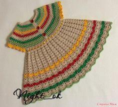 Pretty crochet baby dress *Пестрое платьице. Дополнила схемами