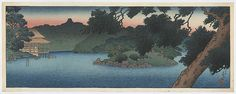 """""""Guest House in the Pines on Pond's Edge"""" by Hasui, Kawase"""