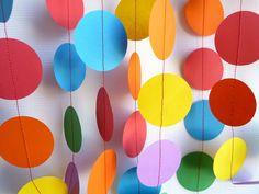 Birthday Party Decorations Garland, 10', red, blue, yellow, green, purple, orange, paper garland - $10.00