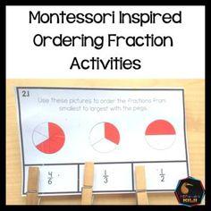 Montessori Inspired Ordering Fractions Activities by Montessorikiwi Montessori Math, Montessori Elementary, Montessori Materials, Elementary Math, Math Stations, Math Centers, Ordering Fractions, Fraction Activities