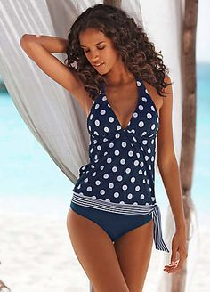 6e2e80c19d LASCANA Navy Polka Dot Tankini £49.00 #CruiseCollection #Swimwear365 Polka  Dot Tankini, Polka