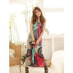 Women's Print/Beach/Maxi Micro-elastic Sleeveless Maxi Dress ( Cotton/Polyester ) – USD $ 17.99