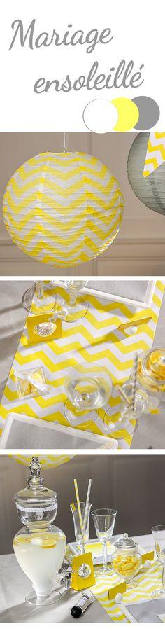 Du jaune, du gris, des chevrons un magnifique limonadier pour votre déco de fête et la joie, la modernité et la sobriété seront de la party !  Lampion jaune chevron - Chemin de table jaune chevron - Limonadier en verre pour cocktails