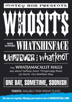 Bandcentral.com - The Whosits. Creative; Dave Dye, Typographer; Andy Dymock