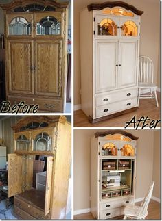 TV Armoire into sewing cabinet-DIY (could be small office area? Refurbished Furniture, Repurposed Furniture, Furniture Makeover, Painted Furniture, Furniture Projects, Furniture Making, Home Projects, Diy Furniture, Craft Cabinet