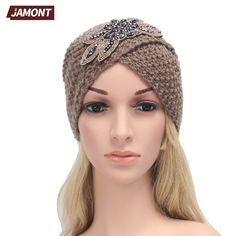 [JAMONT] Women's Knitted Beanie Headband Crochet Headwrap Jewel Flower Winter Warm Turban Hair Accessories Q3328