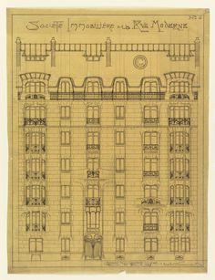 Drawing, Design for the Facade of Societé Immobilière de la Rue Modern, No. 6, 1909