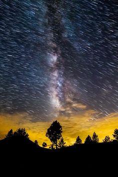 ponderation: It's Raining Stars, in the milky way at Lake Cuyamaca CA by Michael Shainblum