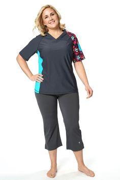 8f5f1cd4d7f75 V-Neck Coastal Rashguard  hydrochic  summerfun  beyou Plus Size Activewear