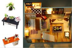 Assemble DIY Wooden House Toy Wooden Miniatura Doll Houses Miniature Dollhouse toys With Furniture LED Lights Birthday Gift Dollhouse Toys, Wooden Dollhouse, Dollhouse Miniatures, Wooden Dolls House Furniture, Dollhouse Furniture, Wooden Diy, Handmade Wooden, Muñeca Diy, Dress Up Dolls