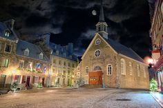 Notre-Dame-des-Victoires is a small Roman Catholic stone church in the Lower Town of Quebec City. Construction was started in 1687 on site of Champlain's habitation and was completed in 1723.