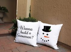 This cute snowman is great for setting a festive mood in any room! Removable pillow covers feature 3 wooden button closure on back. Build A Snowman, Cute Snowman, Snowman Crafts, Snowmen, Outdoor Pillow Covers, Throw Pillow Covers, Throw Pillows, Christmas Decorations, Christmas Ideas