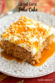 Caramel Carrot Poke Cake with Homemade Cream Cheese  Blog: Alles rund um die Themen Genuss & Geschmack  Kochen Backen Braten Vorspeisen Hauptgerichte und Desserts #hashtag