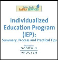 "Autism Speaks just released a new 26 page guide, ""Individualized Educational Plan (IEP): Summary, Process and Practical Tips"" to help parents navigate the IEP process. So many parents could use this!"
