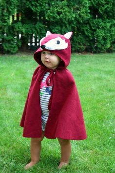 Fox Cape Halloween Costume Kids Dress Up Burgundy Red Fleece Hooded DIY