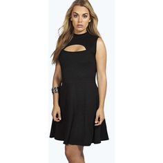 Boohoo Plus Plus Alice High Neck Cutout Skater Dress ($35) ❤ liked on Polyvore featuring dresses, black, bodycon dress, sequin cocktail dresses, black dress, black slip dress and maxi dress