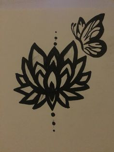Lotus flower and butterfly symbolising the loss of two important family members
