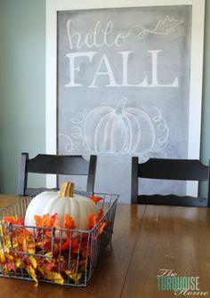 chalkboard fall (font & design!) Turquoise and Orange Fall Home Tour