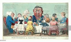 Miss Hibernia At John Bulls Family Dinner!!, Cruikshank, Isaac, 1756?-1811?, Engraving 1799, Miss Hibernia Seated At Right Wearing Dress Decorated With Irish Harps; Seated Around The Table Are Members Of John Bull's Family, Identified As Various Taxes Which Are Likely To Be Imposed On The Irish As A Result Of William Pitt's Proposed Irish Union. A Grotesque Figure Seated Center And Labeled Isacc Income!! Is Taking More Than His Share Pr. An. He Is Admonished By Abraham Hat Stamp Who Says…