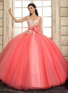 2017 New V-Neck Applique Sweet 15 Ball Gown Coral Satin Tulle Prom Dress Gown Vestidos De 15 Anos