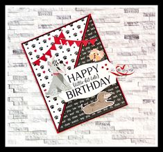 Created by Tracie St-Louis For The Love Of Stamping Playful Pets Bundle (Item no. 154136), Tasteful Touches dies (Item no. 152886), Happiest of Birthday stamp (Item no. 152539) Dog Cards, Kids Cards, Baby Cards, Fun Fold Cards, Folded Cards, Creative Birthday Cards, Hand Made Greeting Cards, Card Tags, Card Kit