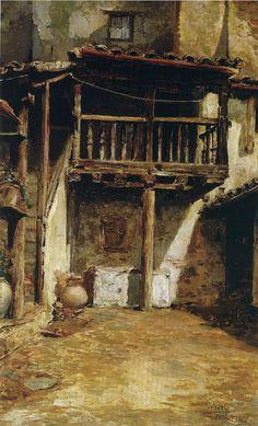 """Wssel de Guimbarda, 1.895 """"Patio toledano"""" Óleo sobre lienzo 64 x 40 Colección particular Cartagena"""