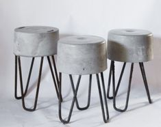 Concrete Stool, Concrete Furniture, Small Furniture, Concrete Countertops, Diy Furniture, Cement Art, Concrete Crafts, Concrete Projects, Beton Design