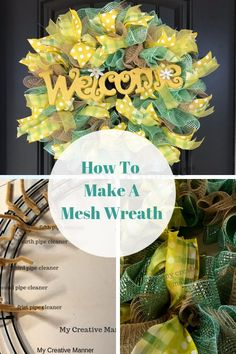 Step by step directions on how to make a simple mesh wreath. Step by step direction on how to make a mesh wreath using ribbon and two colors of mesh. Ribbon Wreath Tutorial, Mesh Ribbon Wreaths, Christmas Mesh Wreaths, Door Wreaths, Yarn Wreaths, Winter Wreaths, Floral Wreaths, Burlap Wreaths, Christmas Crack
