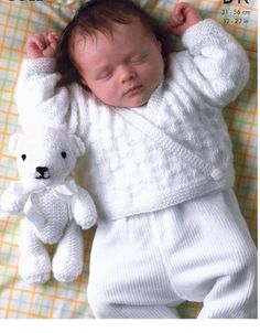 Knitting Pattern – Baby//Child Sweater, Cardigan and Teddy Bear – 12 – 22 ins chest sizes – Prem sizes included - Babysachen Baby Knitting Patterns Free Newborn, Baby Cardigan Knitting Pattern Free, Knitted Baby Cardigan, Baby Pullover, Knitting For Kids, Baby Patterns, Sweater Cardigan, Wrap Sweater, Free Knitting