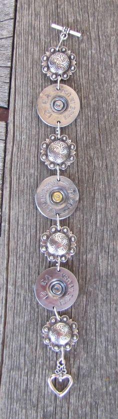 Custom Ammo Shotgun Shell Concho Bracelet by diamondbjewelry on Etsy Shotgun Shell Crafts, Shotgun Shell Jewelry, Ammo Jewelry, Jewelry Crafts, Shotgun Shells, Jewlery, Metal Jewelry, Diamond Jewelry, Jewelry Necklaces